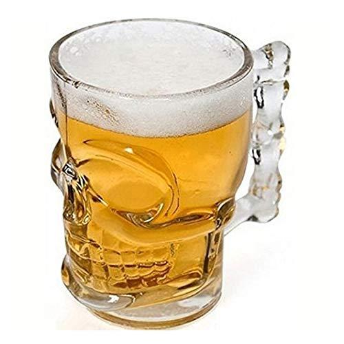 lliang Taza De Agua De Copa de Cerveza 500ml de Vidrio Cráneo Creativo Hueso con asa Taza de Barra de Vino (Color : Freier Raum)