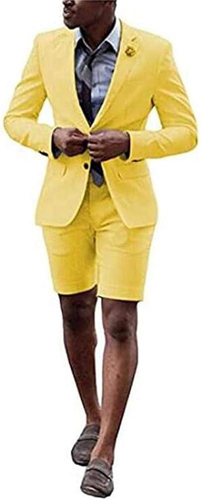 Men's Peak Lapel 2 Pieces Summer Short Suit Slim Fit Prom Wedding Groom Tuxedo
