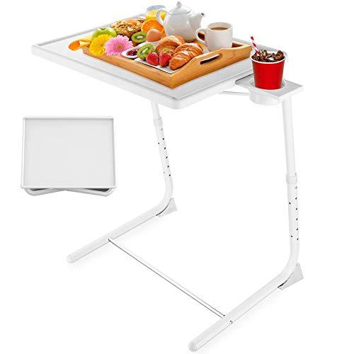 Tavolo vassoio TV regolabile, Tavolino Serviletto vassoio TV su letto e divano, comodo tavolo pieghevole con 6 regolazioni in altezza e 3 inclinazione (bianco)