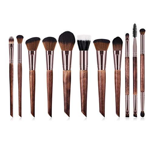 DTTONG 11Pcs Nature Bois Tube De Café Pinceaux De Maquillage Set Kit Double Tête Cils Maquillage Fondation