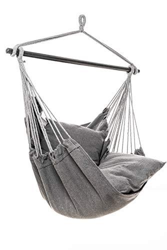 Jet-line Hamaca Relax IV, de tela, de algodón, para exterior, interior, resistente a la intemperie, sillón colgante Relax IV en gris oscuro, incluye 2 cojines para jardín, terraza, balcón