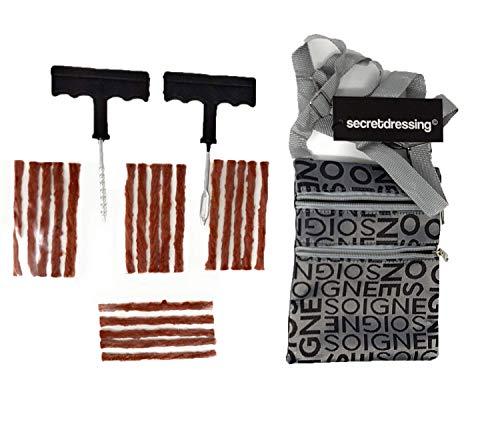 SECRETDRESSING - Kit de pinchazos de herramientas + 20 mechas + bolsa de transporte con doble cierre - Reparación de neumáticos, neumáticos sin cámara