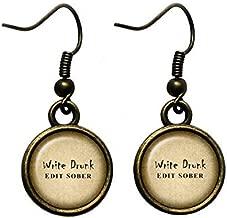 Ernest Hemingway Write Drunk Edit Sober Antique Bronze Earrings