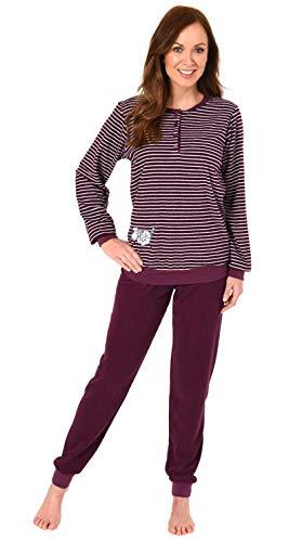 Damen Frottee Pyjama Schlafanzug mit Bündchen, Knopfleiste und süßer Tier Applikation - 112, Farbe:Beere, Größe2:36/38