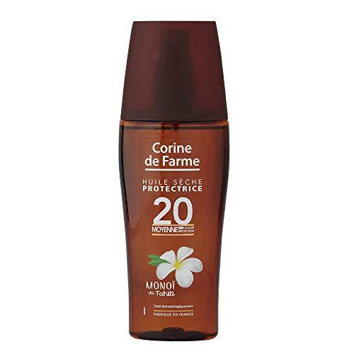 Corine de Farme | Huile Sèche Protectrice SPF20 | Protection Solaire UVA UVB| Formule Clean Beauty Zéro Paraben | Fabriqué en France | 150 ml
