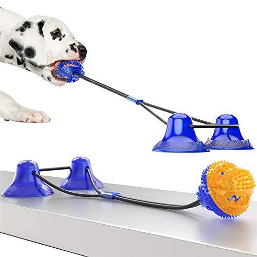 Juguete Molar para Masticar Perros con Doble succión,Cuerda para mordedura de Perro Juguetes de Pelota de Goma durables con Auto-Globo,Bola de Limpieza de Dientes Dispensador de Comida Juguete