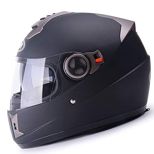 ZCRFY Casque De Moto Intégral en Fibre De Verre avec Double Visière Modulable Homme Casque Scooter Femme Adulte,Black