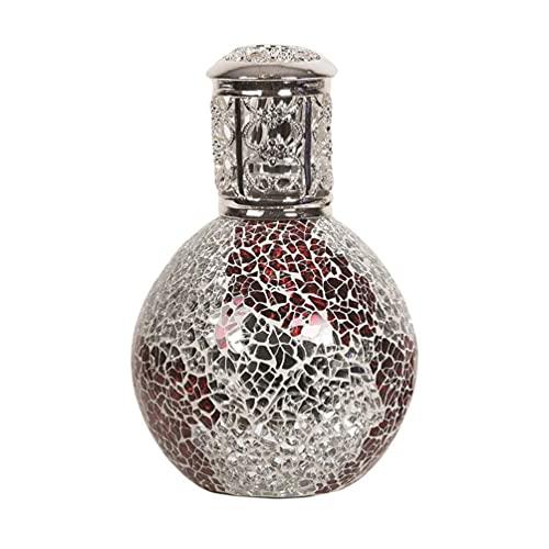 Aromatize Lámpara de aceite de fragancia grande de mosaico rojo y plata con purpurina decorativa 16 cm