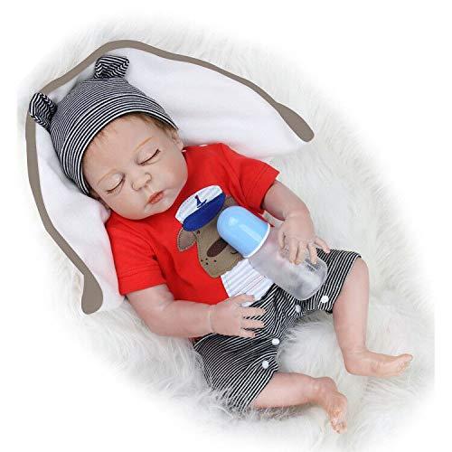 Muñecas Reborn Niño 48cm 18 Pulgadas Realistic Baby Doll Ojos Cerrados Reales Cuerpo Entero Silicona Bebes Reborn Niño Realistas Recien Nacidos Hecho a Mano Muñeca Reborn Reales Impermeable Juguetes