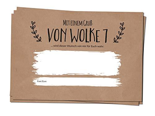 bigdaygraphix 50 Ballonflug-Karten Hochzeits-Karten Hochzeitsspiel extra leicht A6 Ballon Karten Kraftpapier Simple Vintage