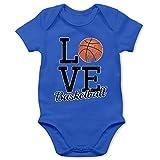 Sport Baby - Love Basketball - 1/3 Monate - Royalblau - Baby Strampler Basketball - BZ10 - Baby Body Kurzarm für Jungen und Mädchen