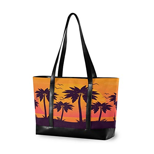 Beach Sunset Palm Silhouettes 15.6 Inch Laptop Tote Bag For Womens Large Tote Bag Lightweight Shoulder Bag Multi-Pocket Canvas + Leather Business Work Office Briefcase for Computer
