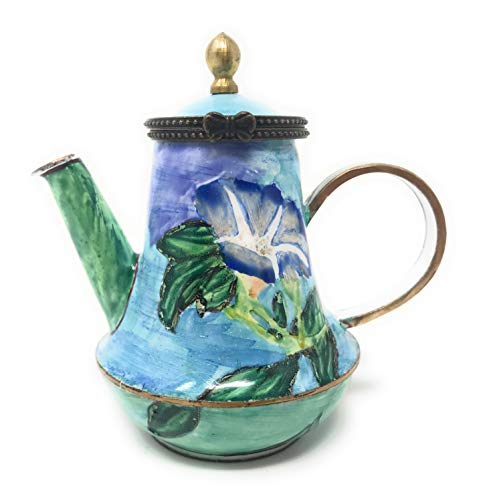 Kelvin Chen La Farge's Morning Glory Enameled Miniature Teapot with Hinged Lid, 3.5 Inches Long
