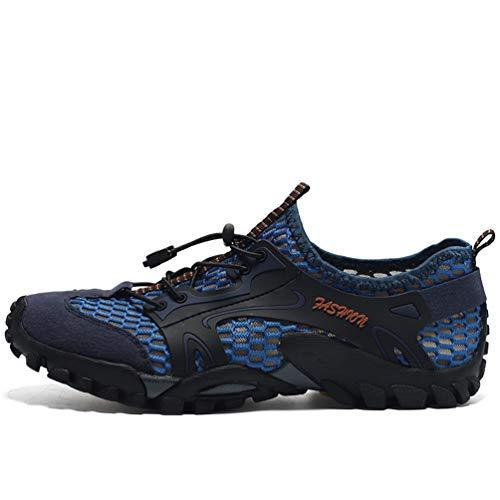 Flarut Sandalias Deportivas Trekking Hombres Verano Pescador Playa Zapatos Casuales Transpirable Zapatilla de Senderismo Deportes Montaña y Asfalto Zapatos para Correr Malla(Azul,42)