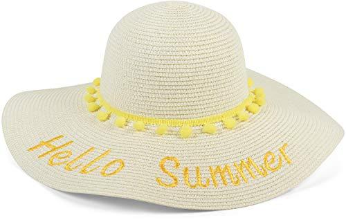 styleBREAKER Damen Strohhut mit Hello Summer Spruch und Band mit Quasten, Sonnenhut, Schlapphut, Sommerhut, Hut 04025023, Farbe:Creme-Gelb