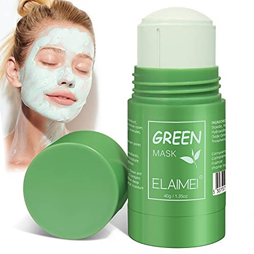 Green Tea Mask Clay Stick, ELAIMEI Poreless Deep Cleanse Mask for Blackheads, Face Moisturizes, Oil Control, Improve Skin of Men and Wome