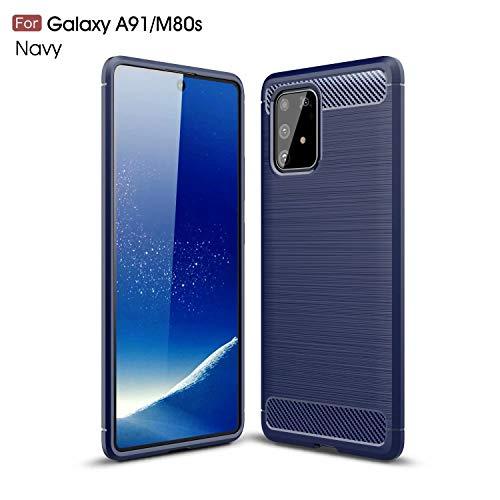 AILZH Handyhülle für Samsung Galaxy A91/Galaxy M80S/Galaxy S10 lite Hülle TPU Weiches Silikon Handyhülle Schutzhülle Anti-Schock Stoßfänger Stoßfest Shockproof Bumper Cover Carbon-Faser Hülle(Blau)