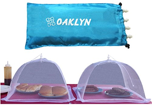(4pk) 16 inch Collapsible Mesh Food Cover Tent Umbrella Set with Storage Bag - Reusable Covers Protect from Flies and Bugs - Best Net Protector for Outdoor BBQ Party Picnic Wedding and Easily Fold Up