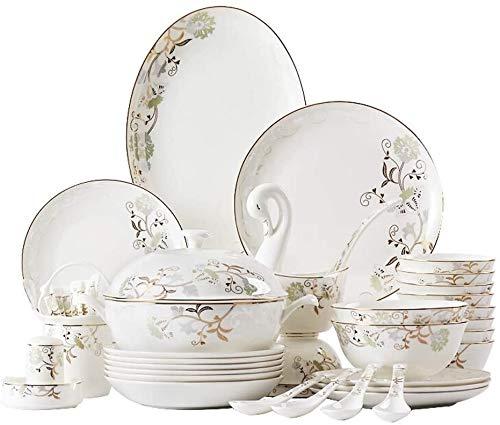 JOMOSIN Cp0206 Vajilla de cerámica con 52 piezas, cuenco, plato, olla de sopa, cuchara, juego de vajilla de porcelana de hueso, juego de combinación de porcelana de patrón dorado liso