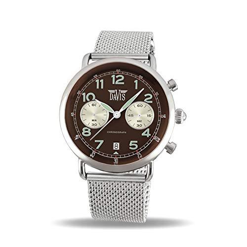 Davis Unisex Erwachsene Chronograph Quarz Uhr mit Edelstahl Armband 2121MB