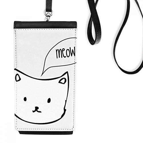 DIYthinker Weiße Katzen-Kopf-Meow Einfache Strichzeichnung Schützen Tierkunstleder Smartphone hängende Handtasche Schwarze Phone Wallet Geschenk