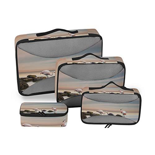 Bolsa de Almacenamiento Multifunción Flamingo Stones Birds Fashion Paquete de 4 Piezas Organizador de Viajes Cubos Set