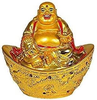 5billion Fengshui Laughing Buddha Gold Ingot for Wealth & Success Boat Dragon Vastu/Feng Shui Home Decor Diwali Gift