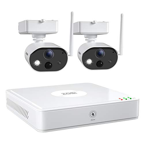 ZOSI C301 Wire Free Cameras Security System Outdoor 4Channel NVR with 2pcs 1080p Rechargeable Battery Powered Security Cameras,80ft Night Vision,PIR Motion Detection, 2-Way Audio, 32GB SD Card