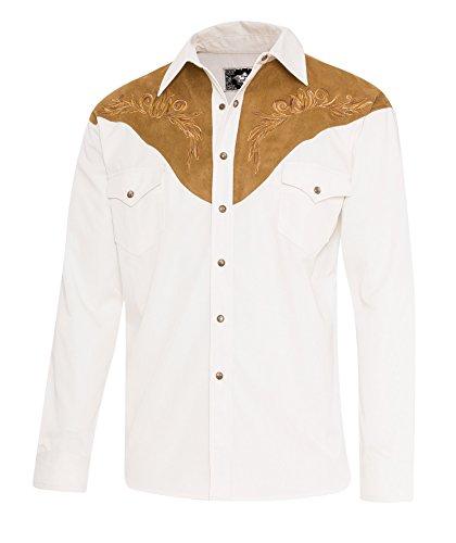 STARS & STRIPES Herren Westernhemd Boston - Westernwear-Shop Edition mit Kragenecken und Samtbeutel Herren Westernkleidung Westernbekleidung Westernhemd Westernshirt (Medium) Weiß