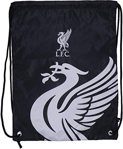 Liverpool FC Drawstring Gym Bag School Swim Sport Black Crest Fan Official
