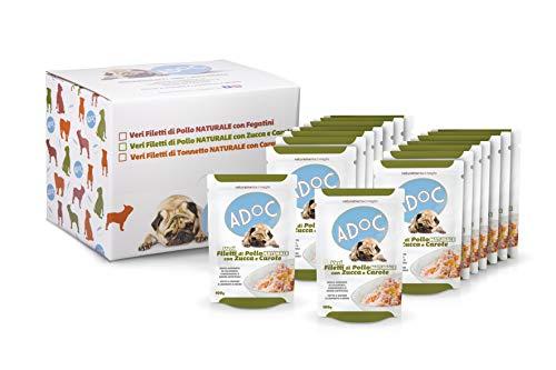 ADOC Cibo Umido per Cani con Ingredienti Naturali al 100% al Pollo con Zucca e Carote - Pacco da 16 Buste da 100 G