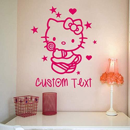 Wandaufkleber Kostenloser Versand Hello Kitty Personalisierter Name Sterne Herzen Mädchen Schlafzimmer Prinzessin Wandaufkleber Aufkleber Grafik Kinderzimmer Dekor 56X45Cm