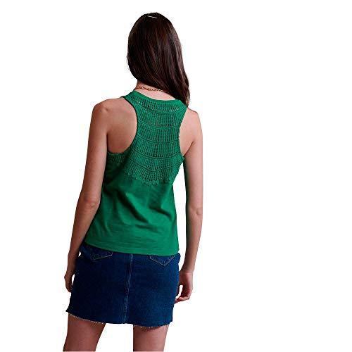 Superdry Lily Crochet Insert Vest Camiseta de Tirantes, Verde (Pepper Green Y3y), XS (Talla del Fabricante:8) para Mujer