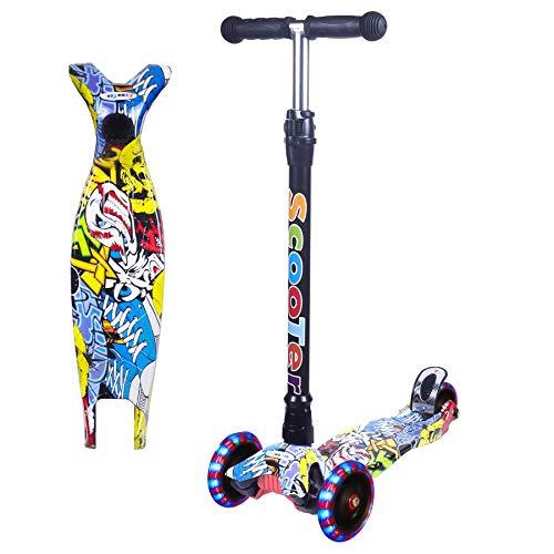 Yuanj Scooter Kinder Roller, Dreiradscooter für Mädchen und Jungen, Höhenverstellbarer und Abnehmbarer Kinderscooter, mit PU Räder/Graffiti Kinder Scooter (Gelb + schwarz, 3-13 Years Old)