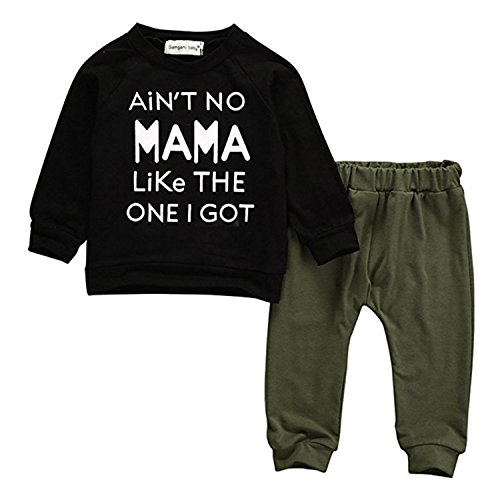 Product Image of the Baby Kids Toddler Boy Sayings Printed Tops Pants Leggings Outfits Clothes Set...