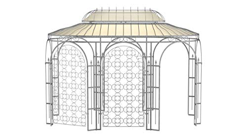 ELEO Verona wunderschöner Gartenpavillon Winterfest mit 2 x Rankgitter Rosa I Ovalpavillon Feuerverzinkt 4 x 2,85 m I Stabiler Rosenpavillon aus Schmiedeeisen mit Sonnensegel I Pavillon für Garten