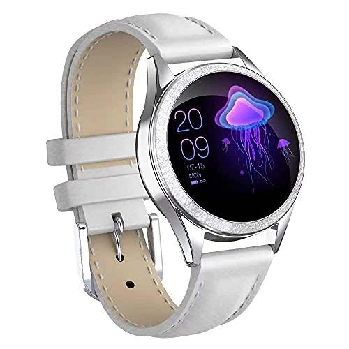 Rastreadores de Actividad Reloj Inteligente para Damas Pantalla Redonda Pulsera Inteligente monitoreo de frecuencia cardíaca recordatorio de información de Pasos de Ejercicio-Blanco