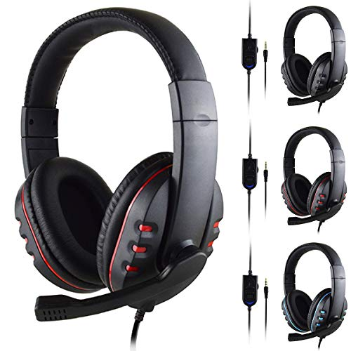 bxtbest-seller Gaming Headset voor PS4 Xbox One, 3.5mm Bedraad Over-head Stereo Gaming Headset met Microfoon (Zwart+Rood) Zwart Rood