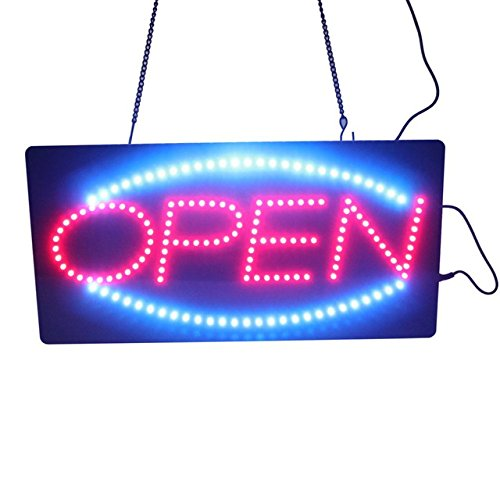 Leadleds 1910-1 LED Open Sign Portable 19-inch Neon Open Sign Message Board Red and Blue Color with 2 Light Modes for Beauty Salon Nail Sushi Bakery Barber Massage Restaurant Office Store Business