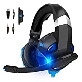 Gaming Headset for Xbox One, PS4, PC, Y-Team Gaming Headphone with Noise Cancelling Mic, 3D Stereo Surround Sound, Soft Earmuff, LED Light Compatible Mac, Laptop, Switch, PS3(Blue)