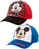Disney Mickey Mouse 2 Pack Baseball Cap (Toddler/Little Boys), Size Age 2-4, Mickey Mouse Design - 2 Piece Set
