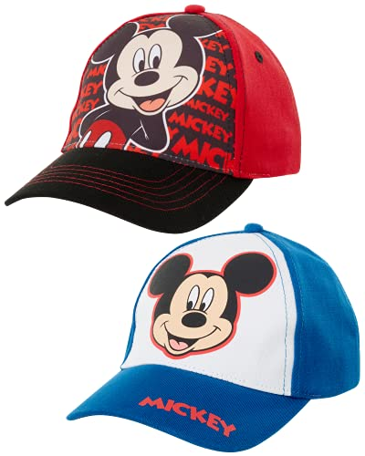 Disney Mickey Mouse 2 Pack Baseball Cap (Toddler Little Boys), Size Age 2-4, Mickey Mouse Design - 2 Piece Set