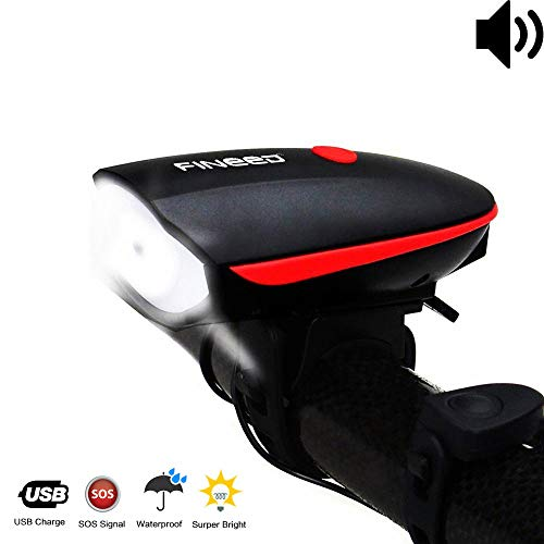 fineed Bike Light Front Bicycle Horn Set250 Lumen LED Bike LightUSB Rechargeable Bike HeadlightsWaterproof Front Light for Outdoor Sports Easy to Strap on with Silicone Belt