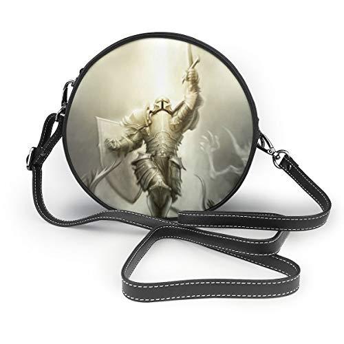Leder Umhängetasche,Diablo 3 Crusader ArmorÖlbeständige Umhängetasche für Damen, modische Kosmetiktasche, runde Ledertasche mit Nanodruck, 7,1 x 2,36 (Zoll)