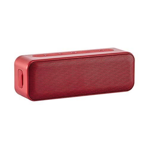 Amazon Basics – Bluetooth-Stereo-Lautsprecher mit wasserabweisendem Design, 15 W, Rot