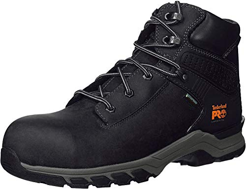 """Timberland PRO Men's Hypercharge 6"""" Composite Toe Waterproof Industrial Boot, Black Full Grain Leather, 10.5 W US"""