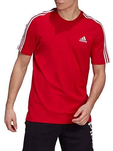 adidas M 3S SJ T t-Shirt (Short Sleeve), Scarlet, Men
