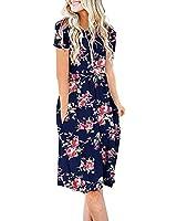 DB MOON Women Summer Casual Short Sleeve Dresses Empire Waist Dress with Pockets(Flower Rose Navy Blue, 3XL)