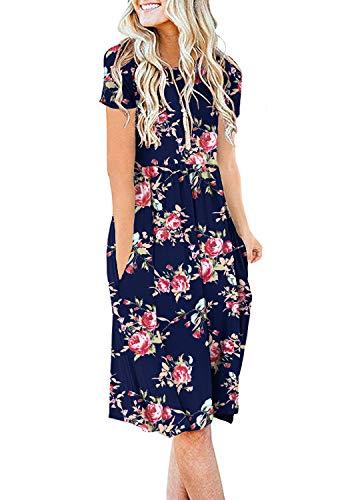DB MOON Women Summer Casual Short Sleeve Dresses Empire Waist Dress with Pockets(Flower Rose Navy Blue, XL)
