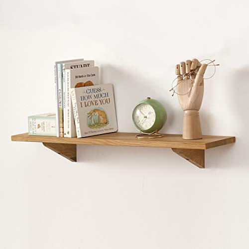 GIEANOO Estantería flotante de madera maciza de roble con soportes triangulados para dormitorio, sala de estar, baño, oficina, cocina (40 cm)